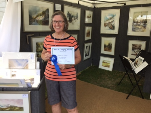 Maggie McCarthy with Award at Evanston Lakeshore Arts Festival